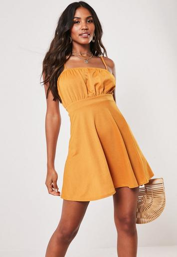 Mustard Milkmaid Skater Dress by Missguided