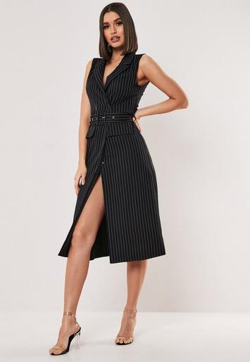 Black Pinstripe Sleeveless Midi Dress Missguided