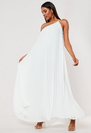 White One Shoulder Pleated Maxi Dress by Missguided