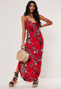 9067245a99ef Red Chain Print Pleated Shirt Dress · Red Floral Split Hem Maxi Dress
