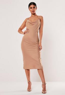 19e882f73e Black Satin Cowl Neck Midi Dress · Mocha Satin Cowl Neck Midi Dress