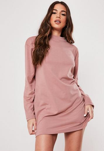 Rose Long Sleeve T Shirt Dress by Missguided