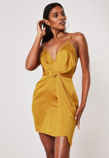 Mustard Strappy Satin Shift Dress by Missguided