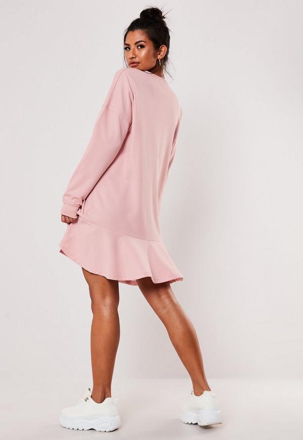 c8061676f6 Black Basic T Shirt Dress. $20.00. pink frill hem oversized sweater dress