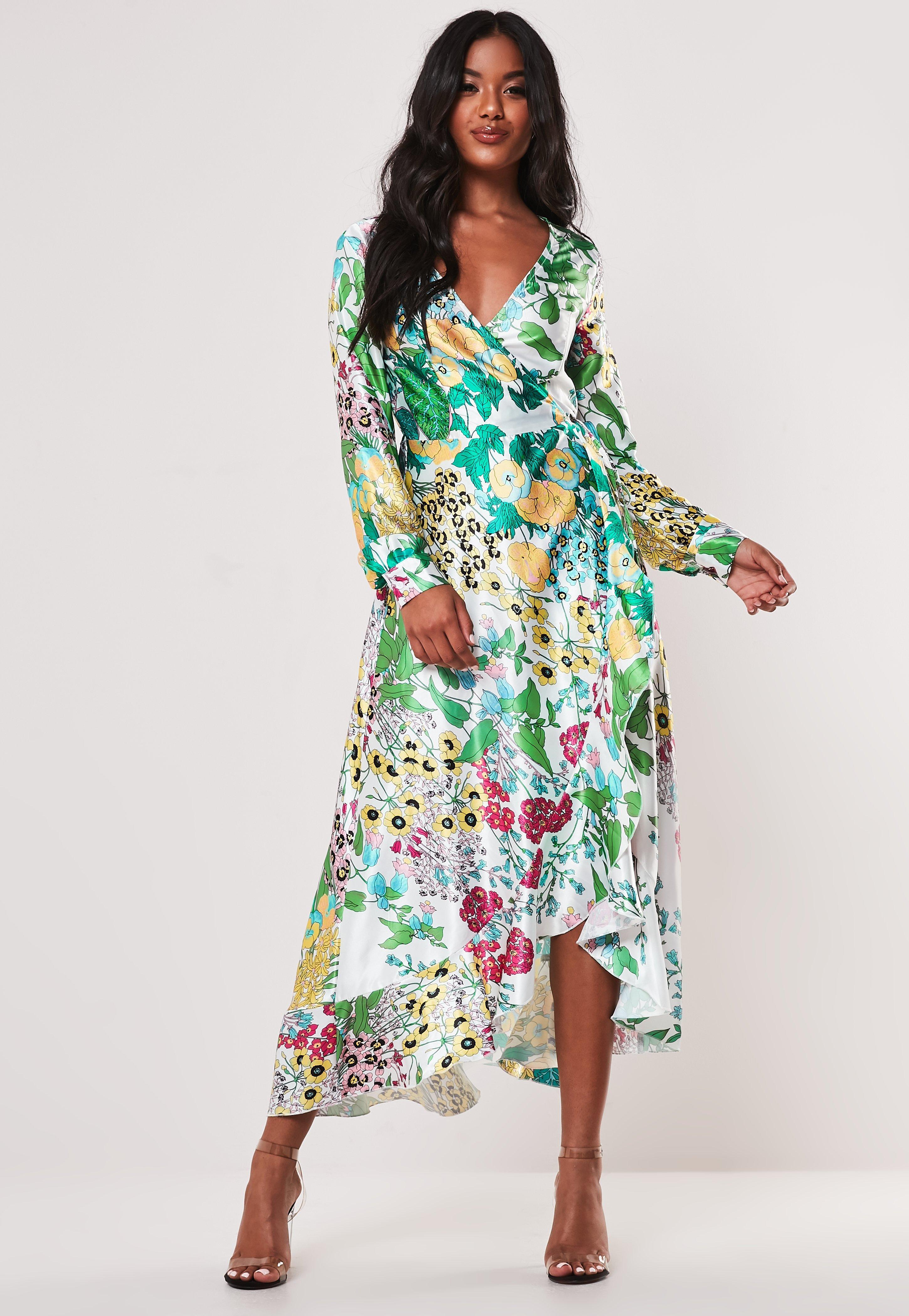 Longue Floral Vert Blanche Imprimé À Robe f6vIb7gYy