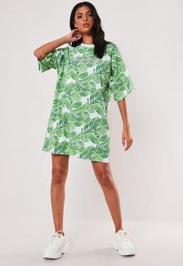 2530c7d8 ... Green Oversized Club Tropicana Slogan T Shirt Dress