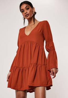 113304ac3b13 ... Rust Tiered Smock Dress