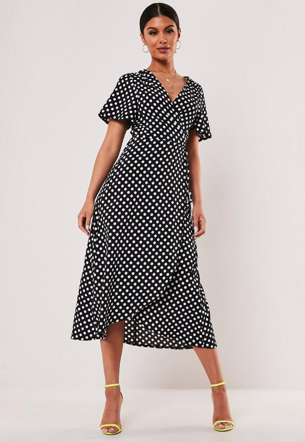 Black Polka Dot Print Wrap Front Midi Dress Missguided
