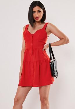 Оранжевое платье на пуговицах Cami