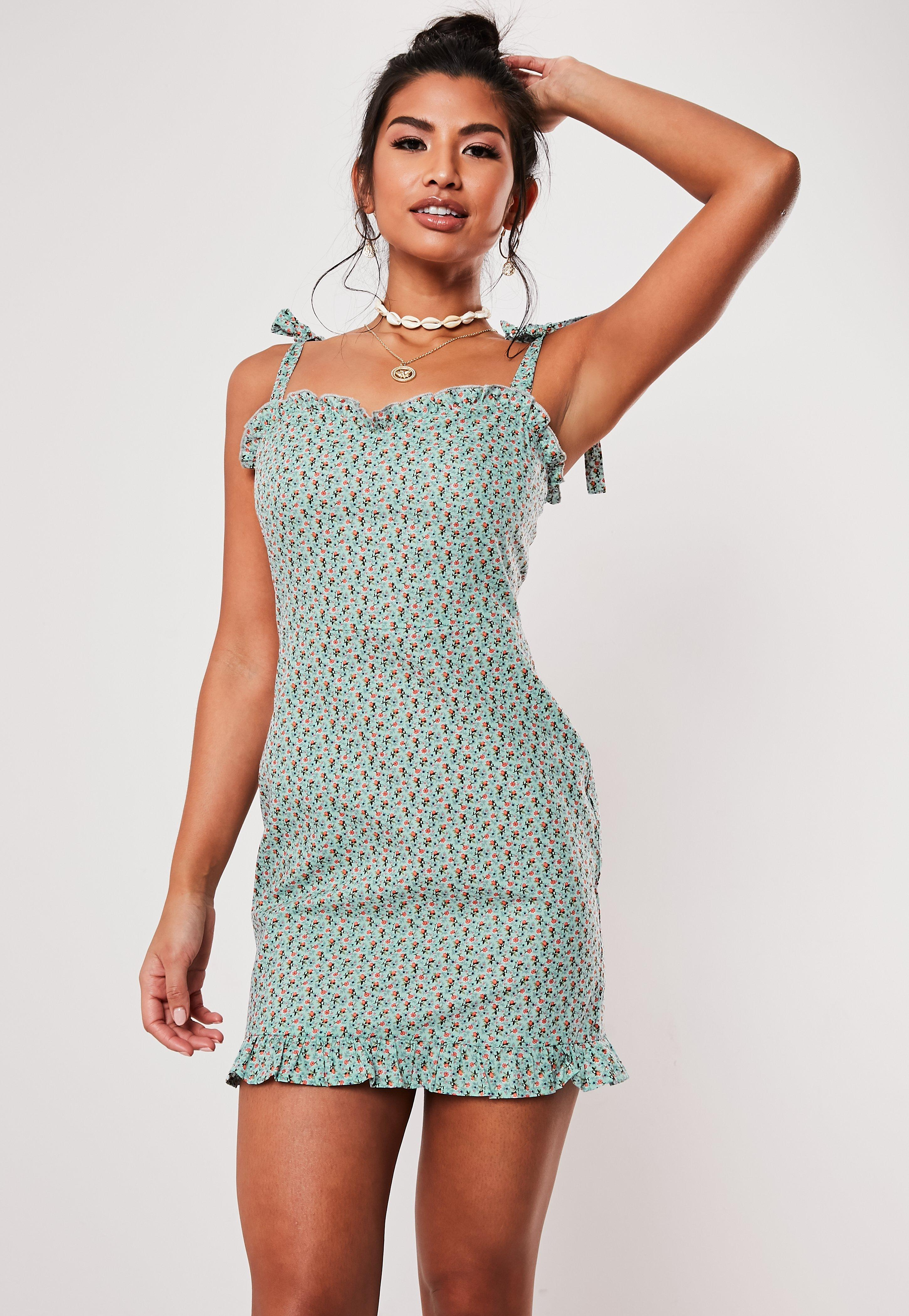 Blue Floral Print Frill Hem Mini Dress by Missguided