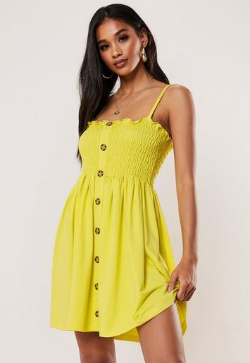 Yellow Cami Button Down Shirred Waist Skater Dress by Missguided