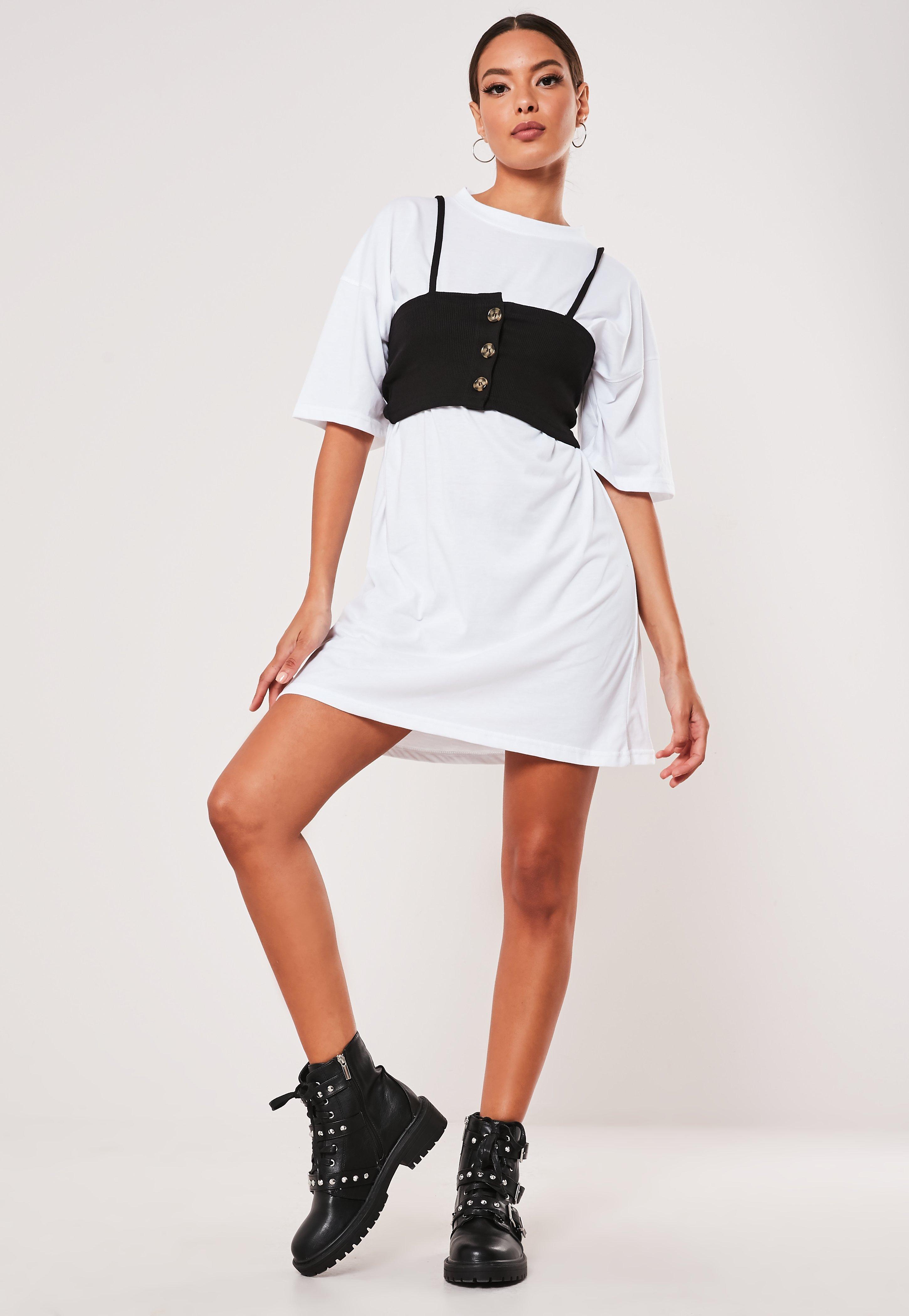 100% quality recognized brands yet not vulgar White Button Corset Detail Mini T Shirt Dress