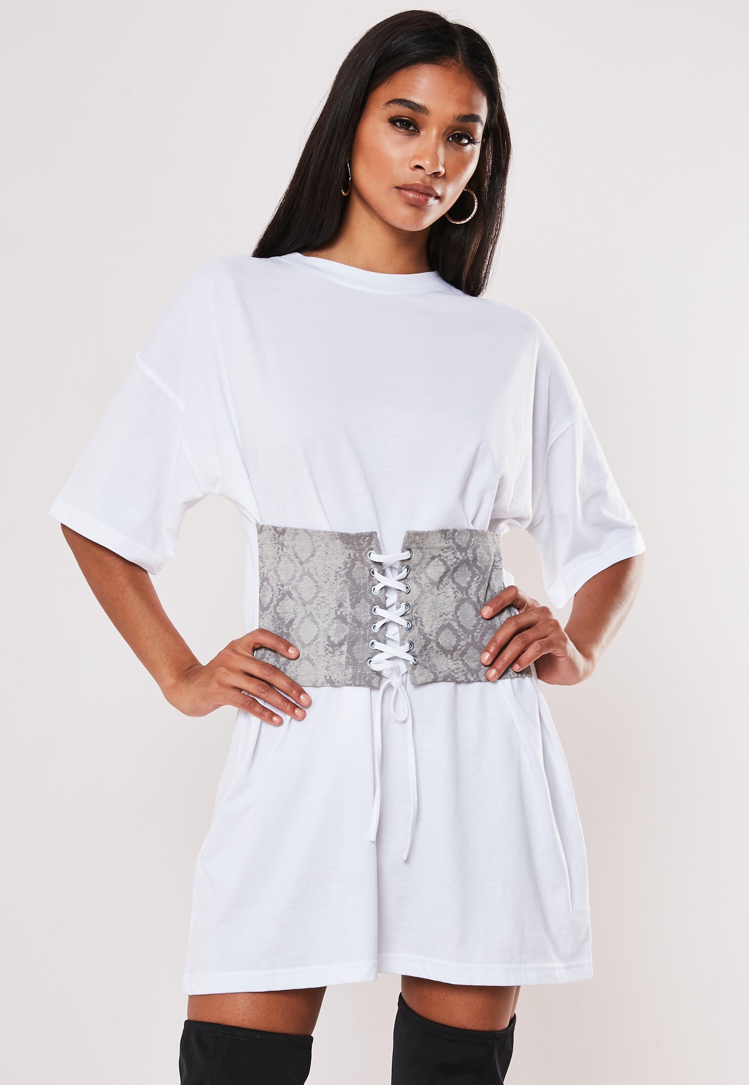 White Snake Print Lace Up Corset Dress