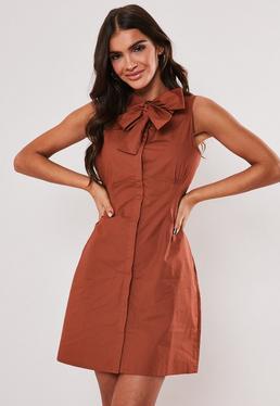 Ржавое платье без рукавов из поплина