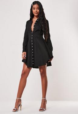 Черное платье-рубашка Skater