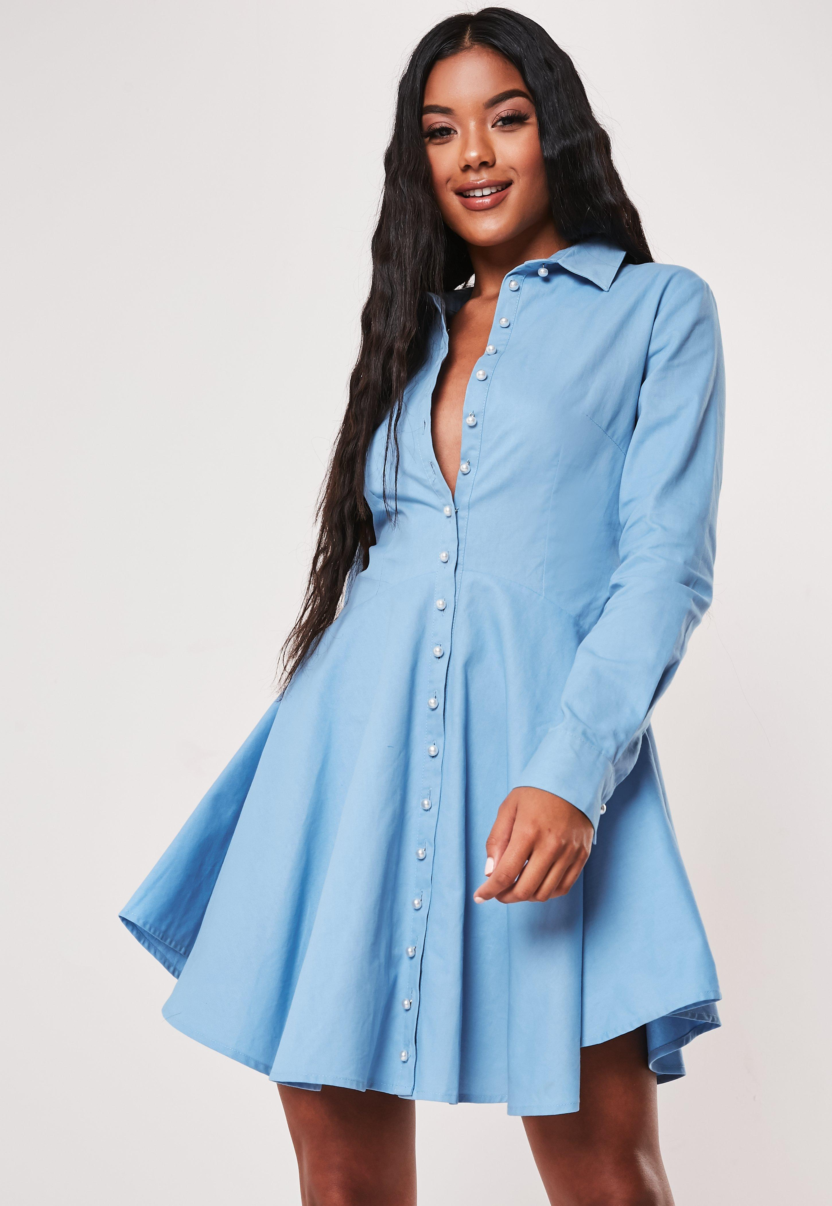 ead7ef48caa51 Blue Button Down Skater Shirt Dress
