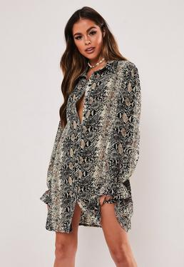 14e0920d70db Black Animal Print Satin Oversized Shirt · Grey Snake Print Oversized Shirt  Dress