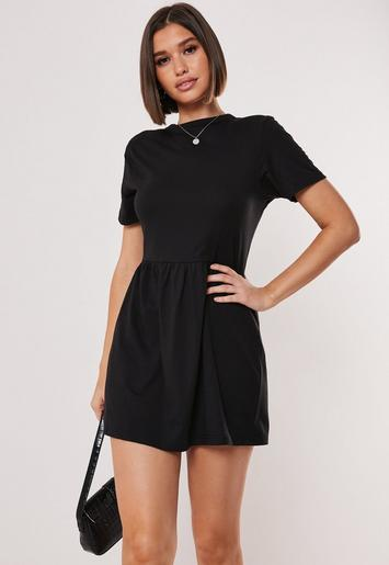 Black Short Sleeve Jersey Smock Dress by Missguided