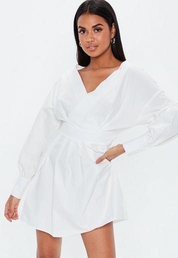 White V Neck Ruched Waist Dress by Missguided