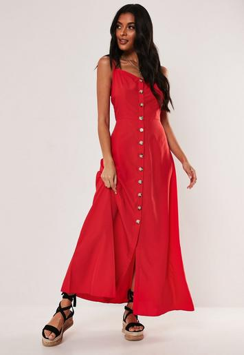 Red Mock Horn Button Maxi Cami Dress by Missguided
