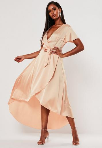 Peach Satin Wrap Front Ruffle Midi Dress by Missguided