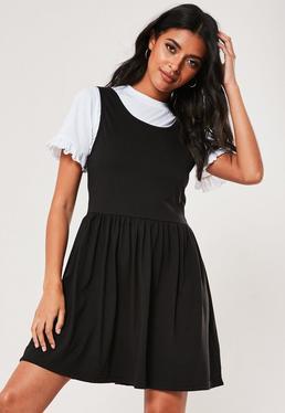 Черное платье-футболка с оверлеем