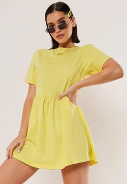 7544c7853e Rust Tiered Smock Dress · Yellow Jersey Short Sleeve Smock Dress