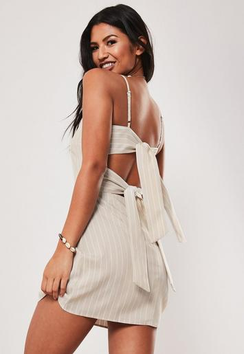 Tie Back Cami Shift Dress Stripe by Missguided
