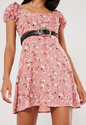 Pink Floral Milkmaid Button Front A Line Mini Dress by Missguided