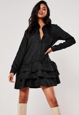 Черное платье-халат с оборками
