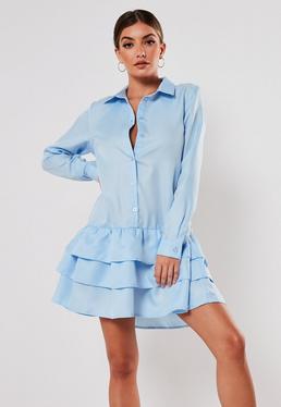 Синее платье-халат с рюшами