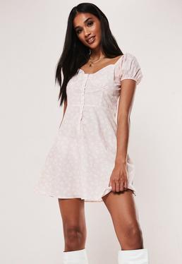 Мини-платье Pink Daisy Milkmaid A Line