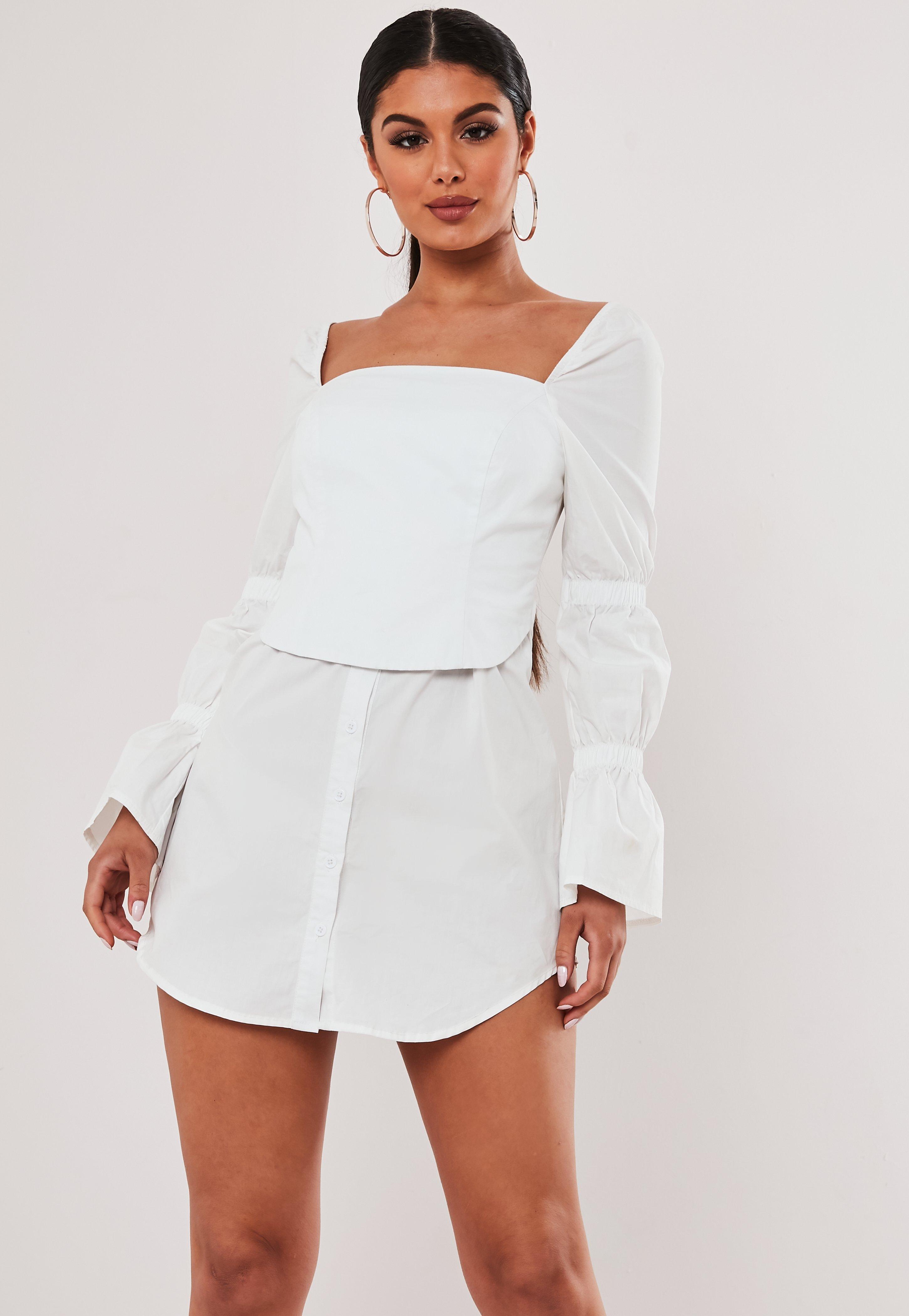 Stassie x Missguided Vestido camisero con corsé de popelina en blanco
