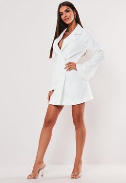 Белое асимметричное пиджак с боковым платьем