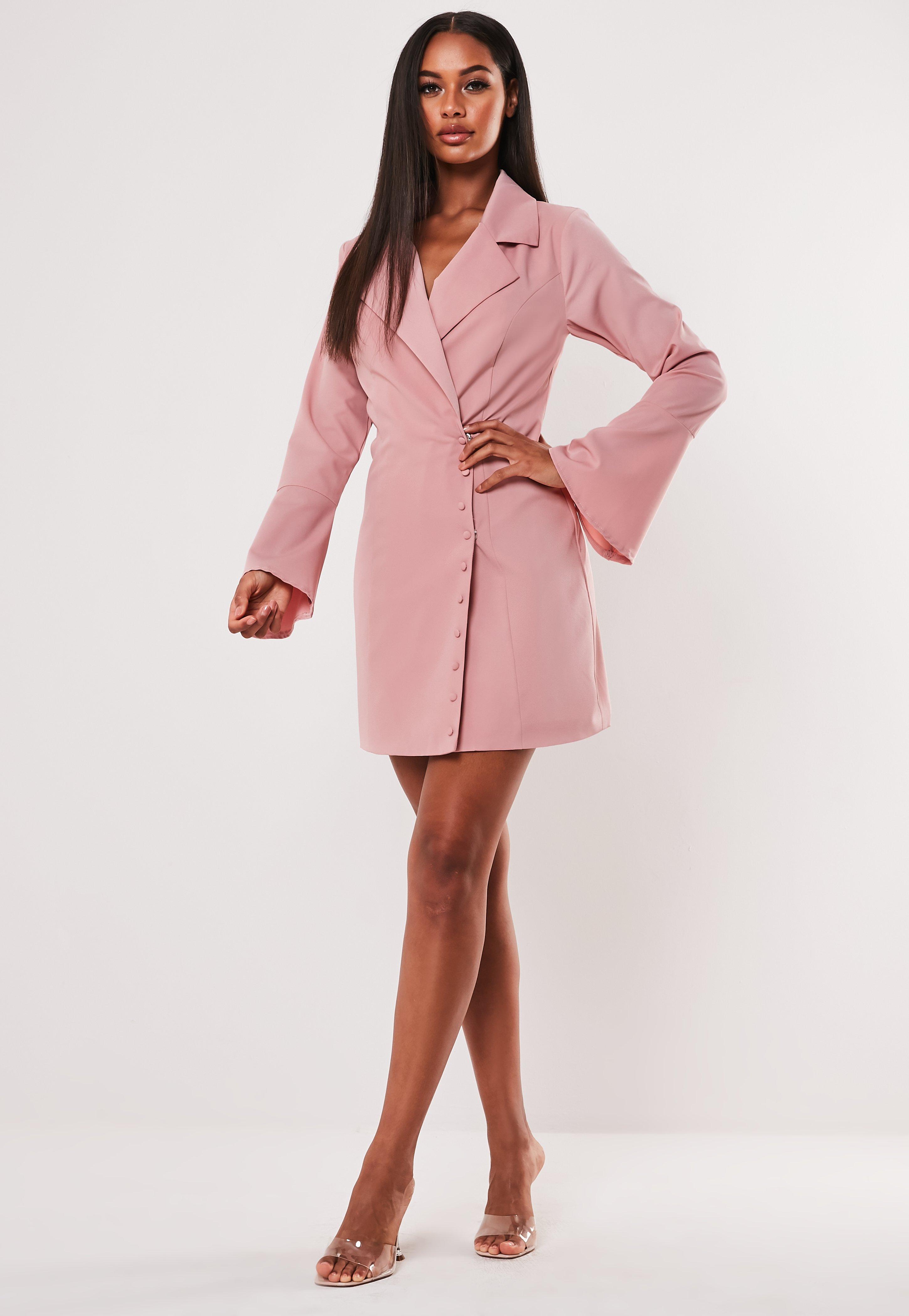 c0ab17796 Pink Asymmetric Button Side Blazer Dress