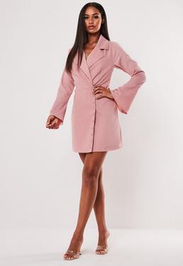 Розовое асимметричное пиджак с боковым платьем