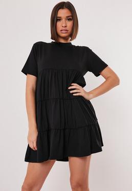 Платье-халат из черного джерси