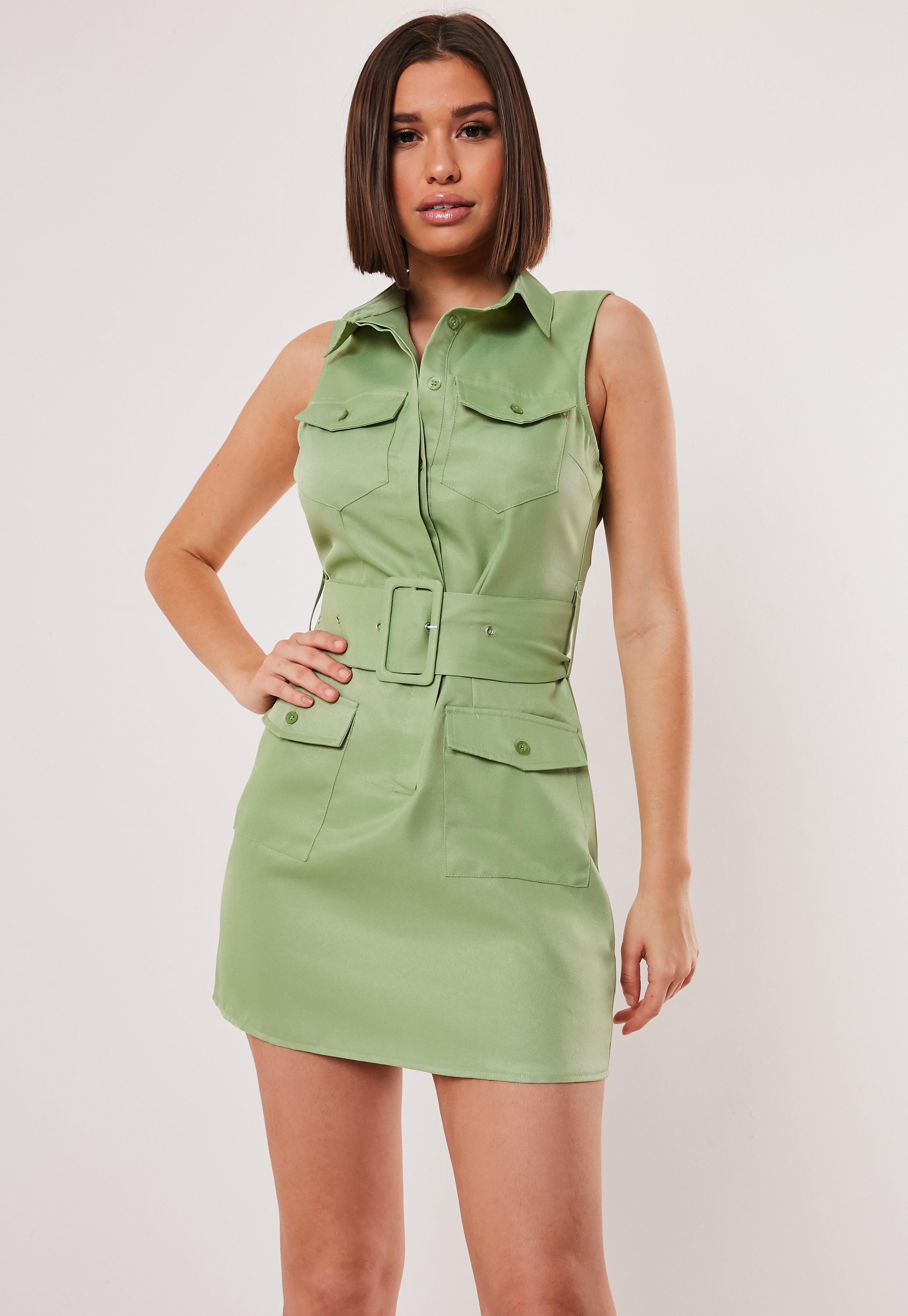d634abc1d61f9 Green Sleeveless Belted Shirt Dress