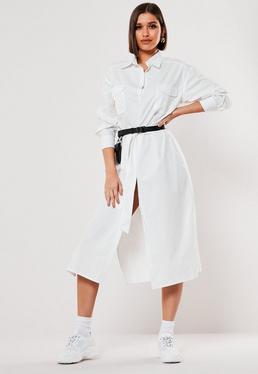 Белое платье-миди с поплиновым поясом