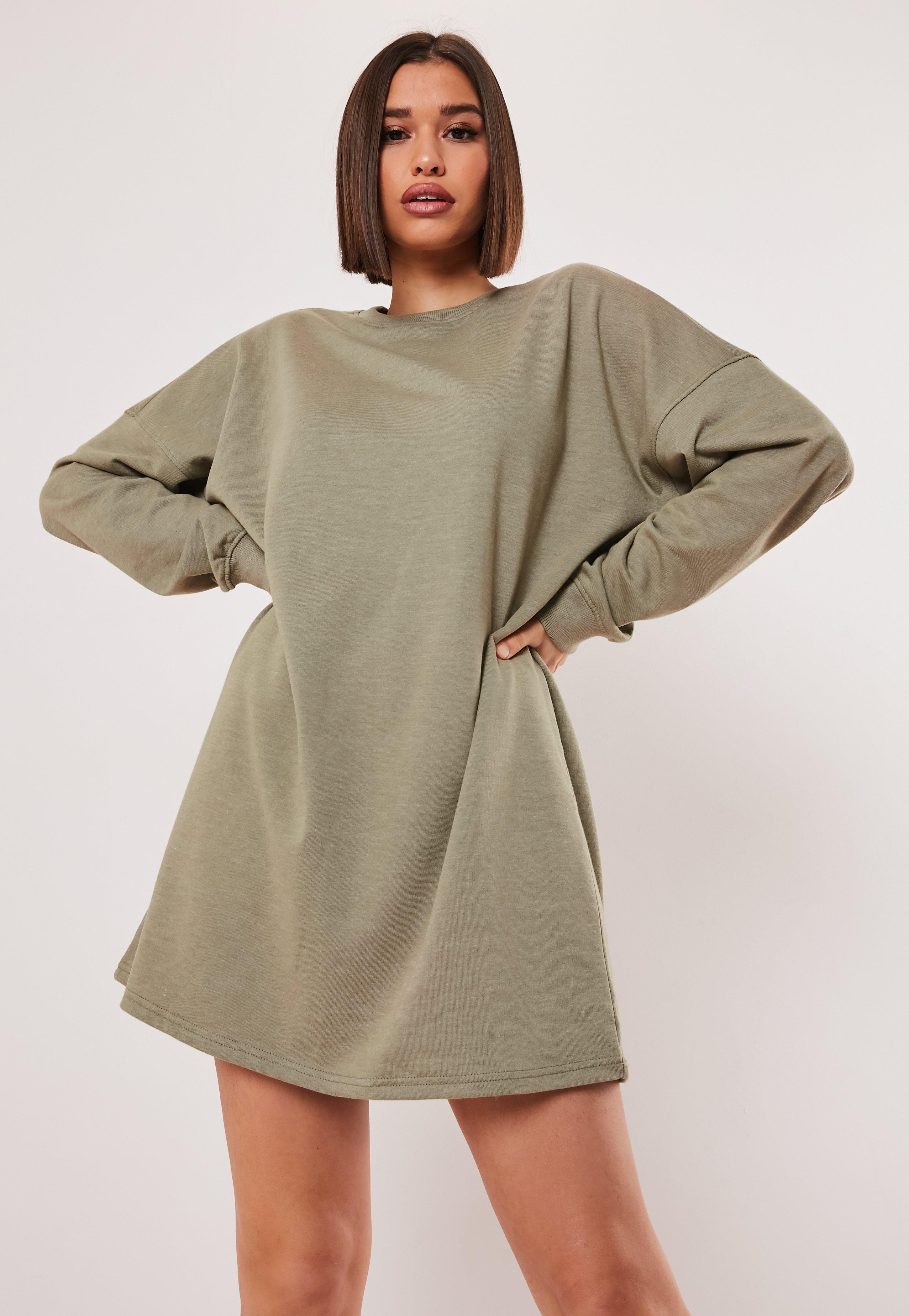 bbec32a8c5fb5 Khaki Oversized Sweater Dress