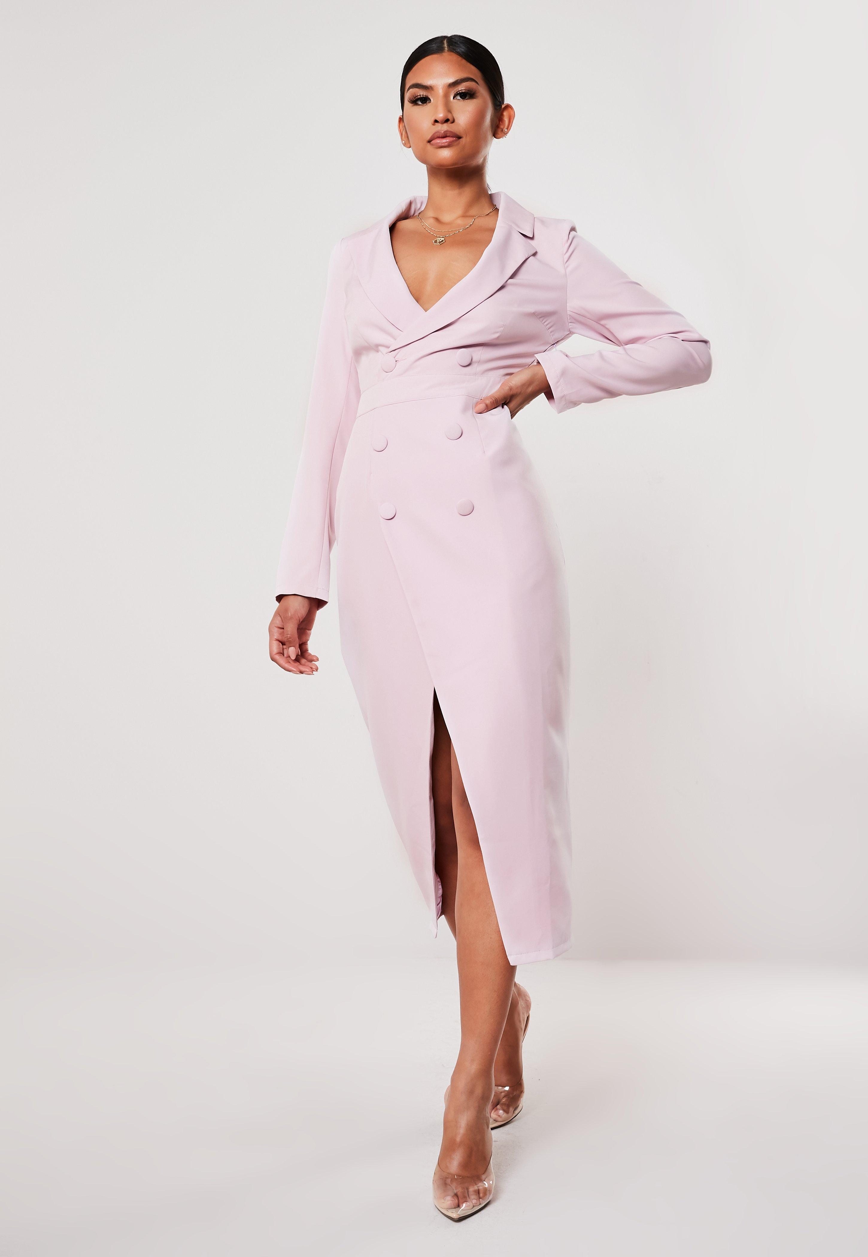 selección asombrosa la mejor calidad para varios estilos Vestido blazer midi de manga larga en lila