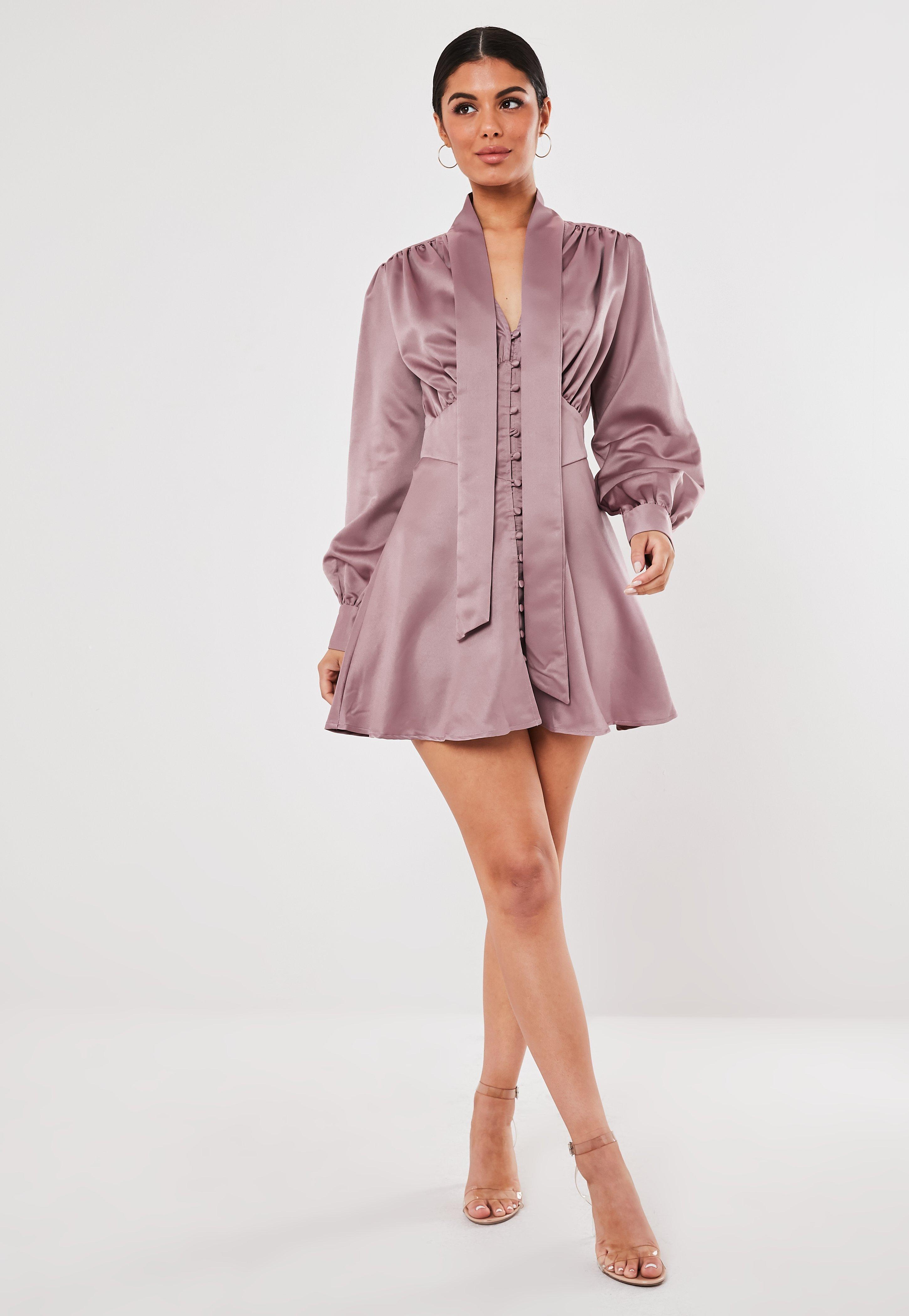 101b36b2 Blush Button Down Pussy Bow Satin Mini Dress