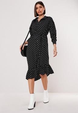 Черное платье-миди в горошек