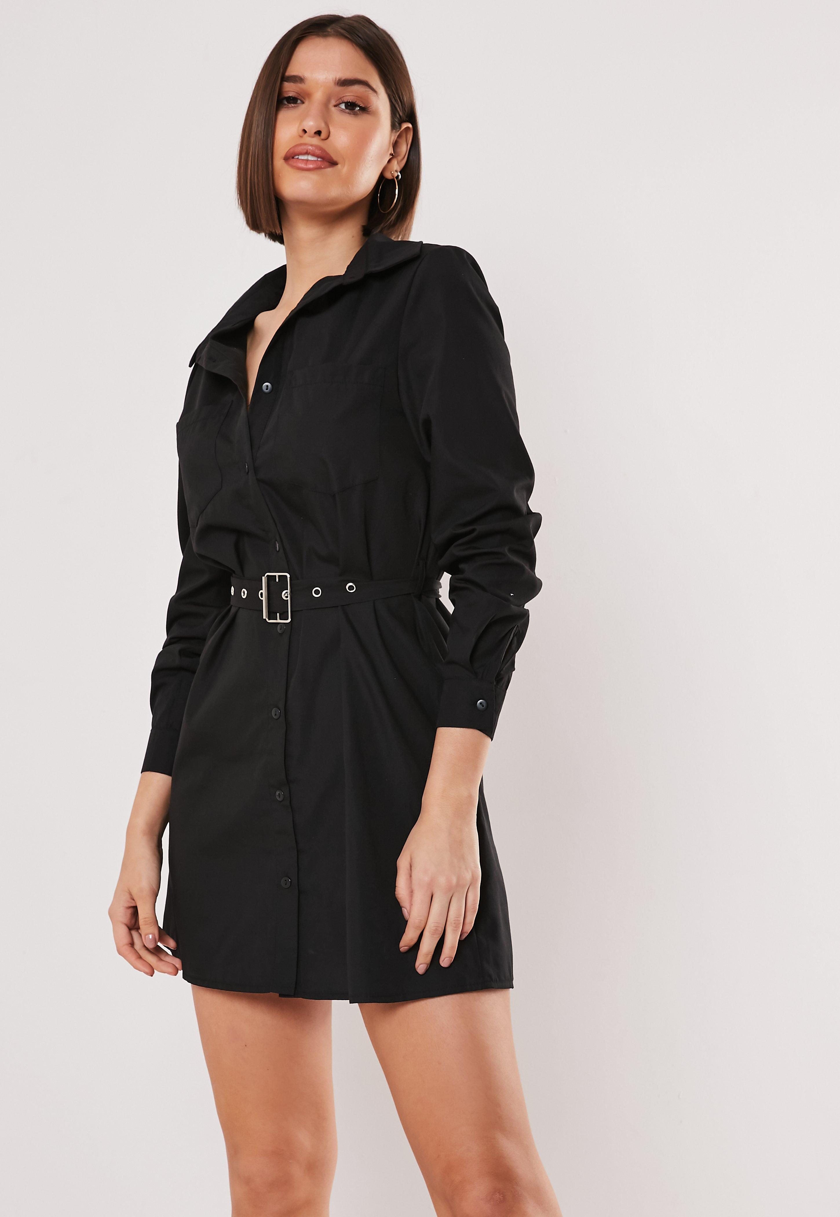34947018a3c Black Buckle Belted Shirt Dress