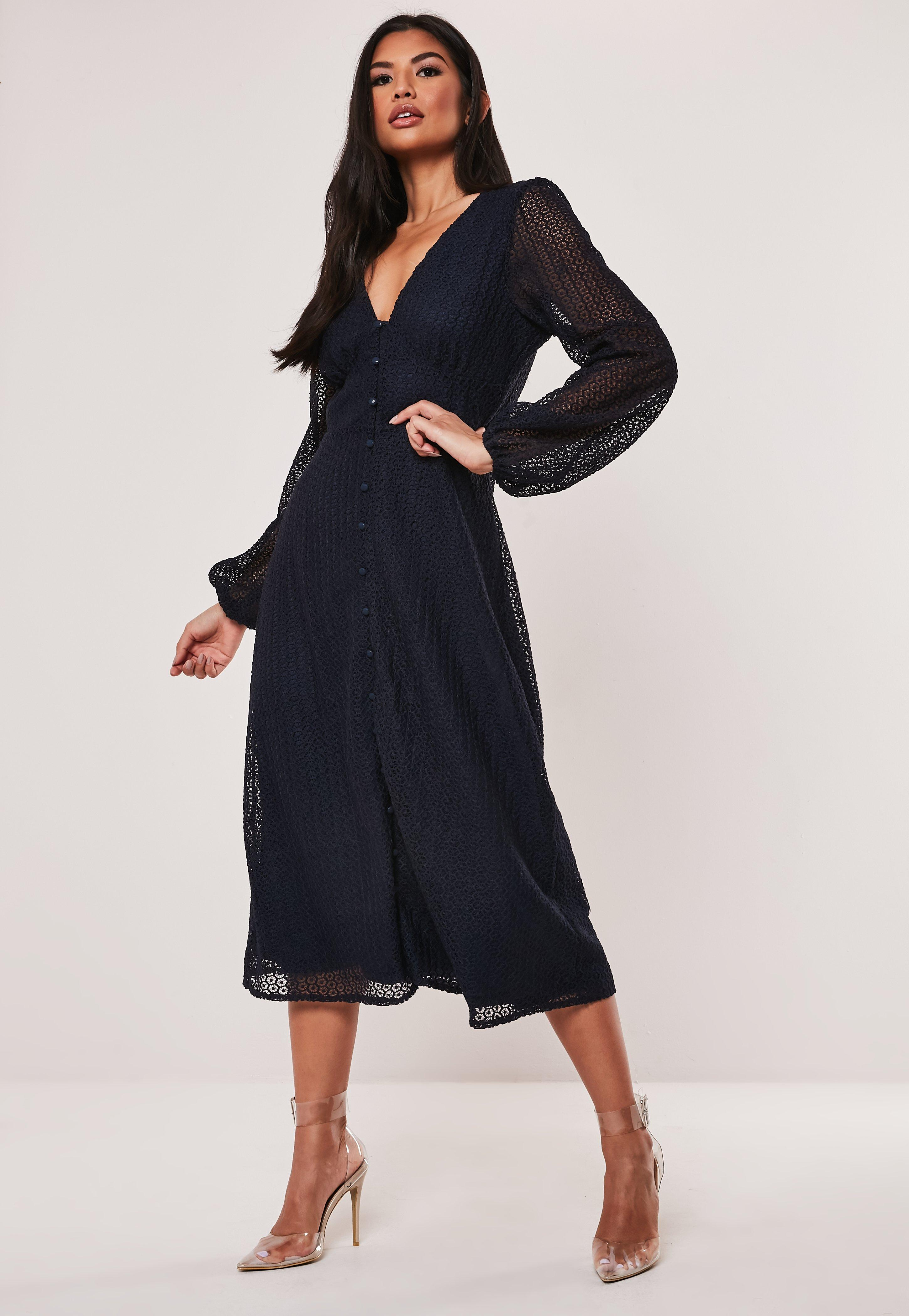 classic style classic shoes order Navy Lace Button Through Midi Dress | Missguided