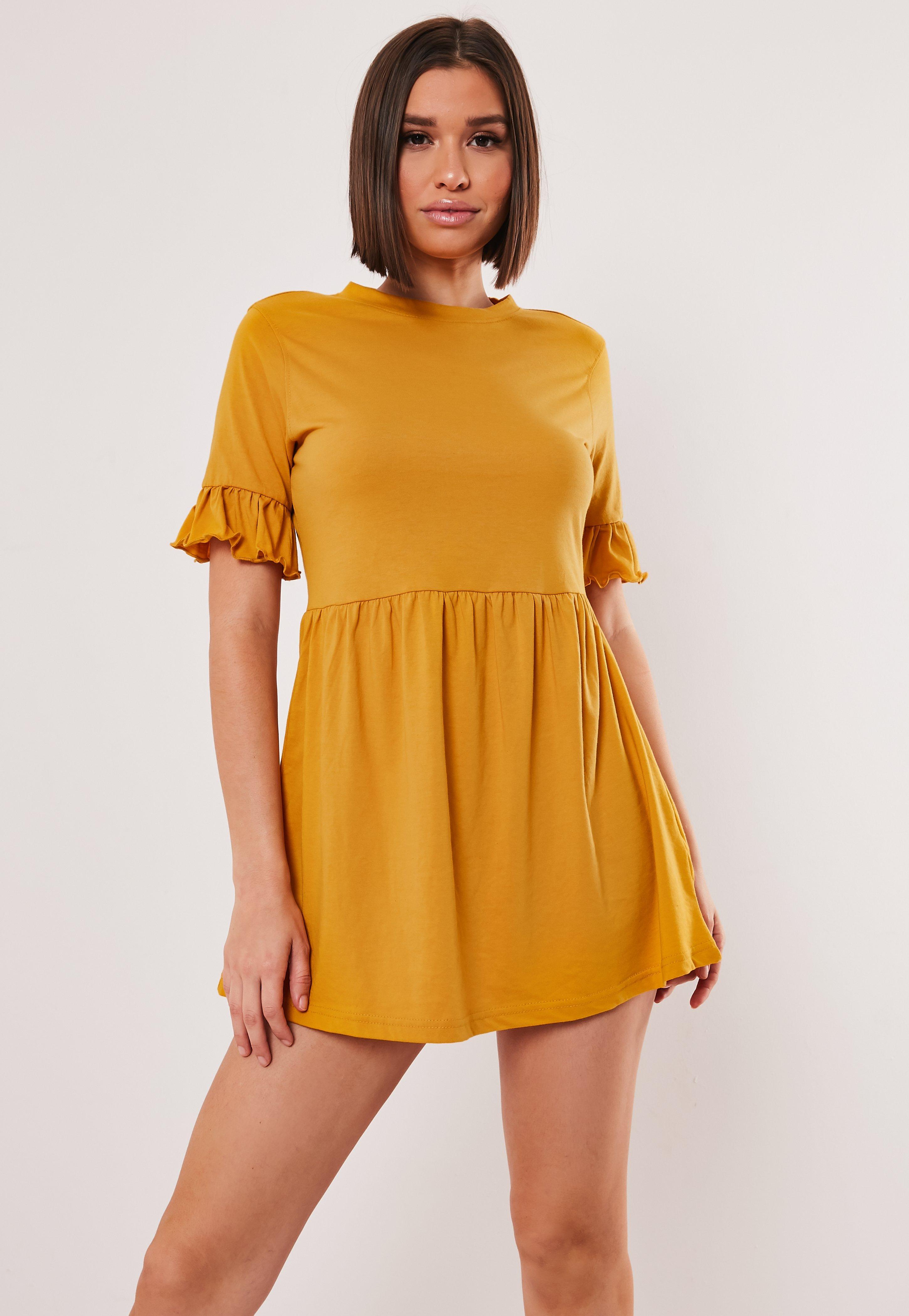 de0eb1128b211 Mustard Jersey Frill Sleeve Smock Dress