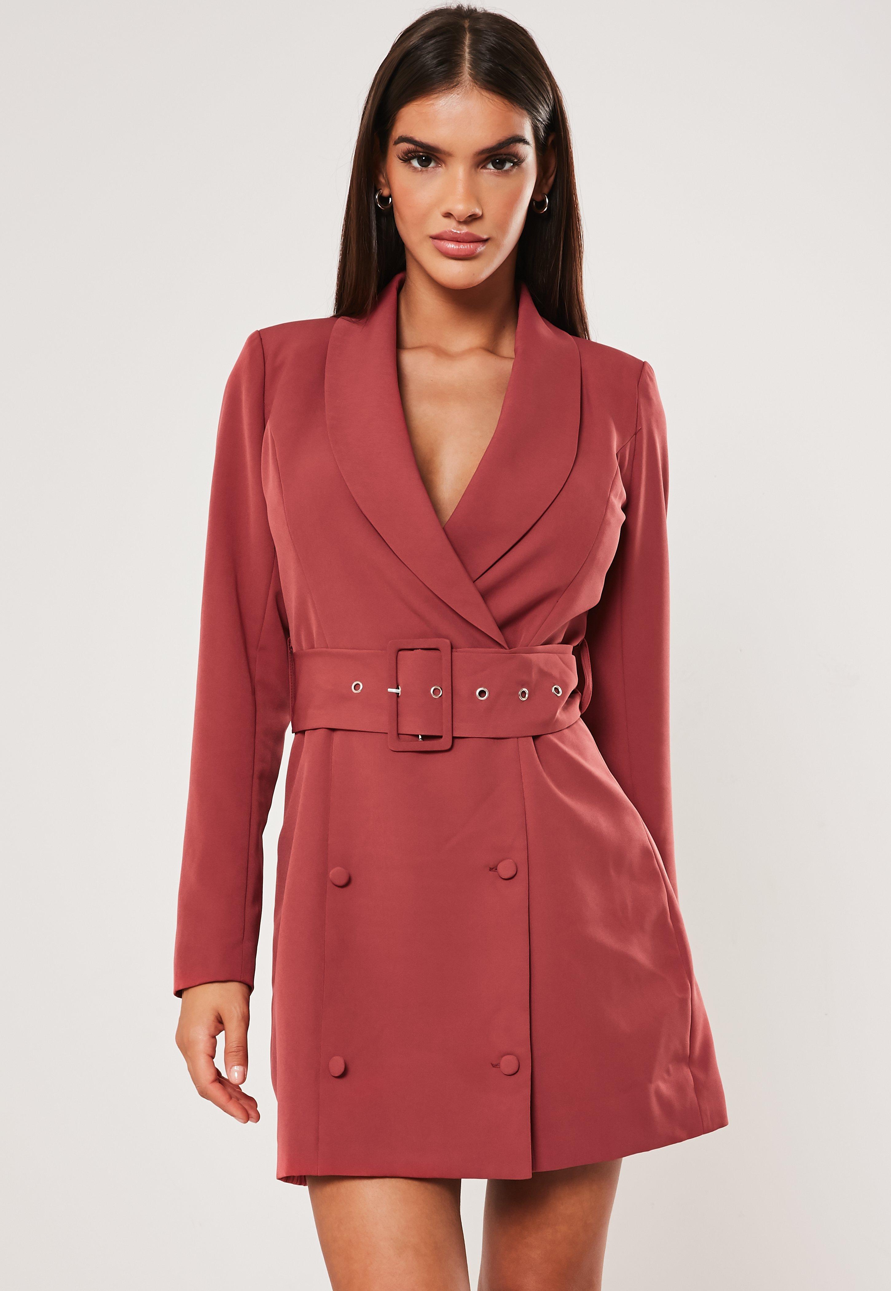 35958a2cf87c1 Terracotta Self Belted Button Blazer Dress