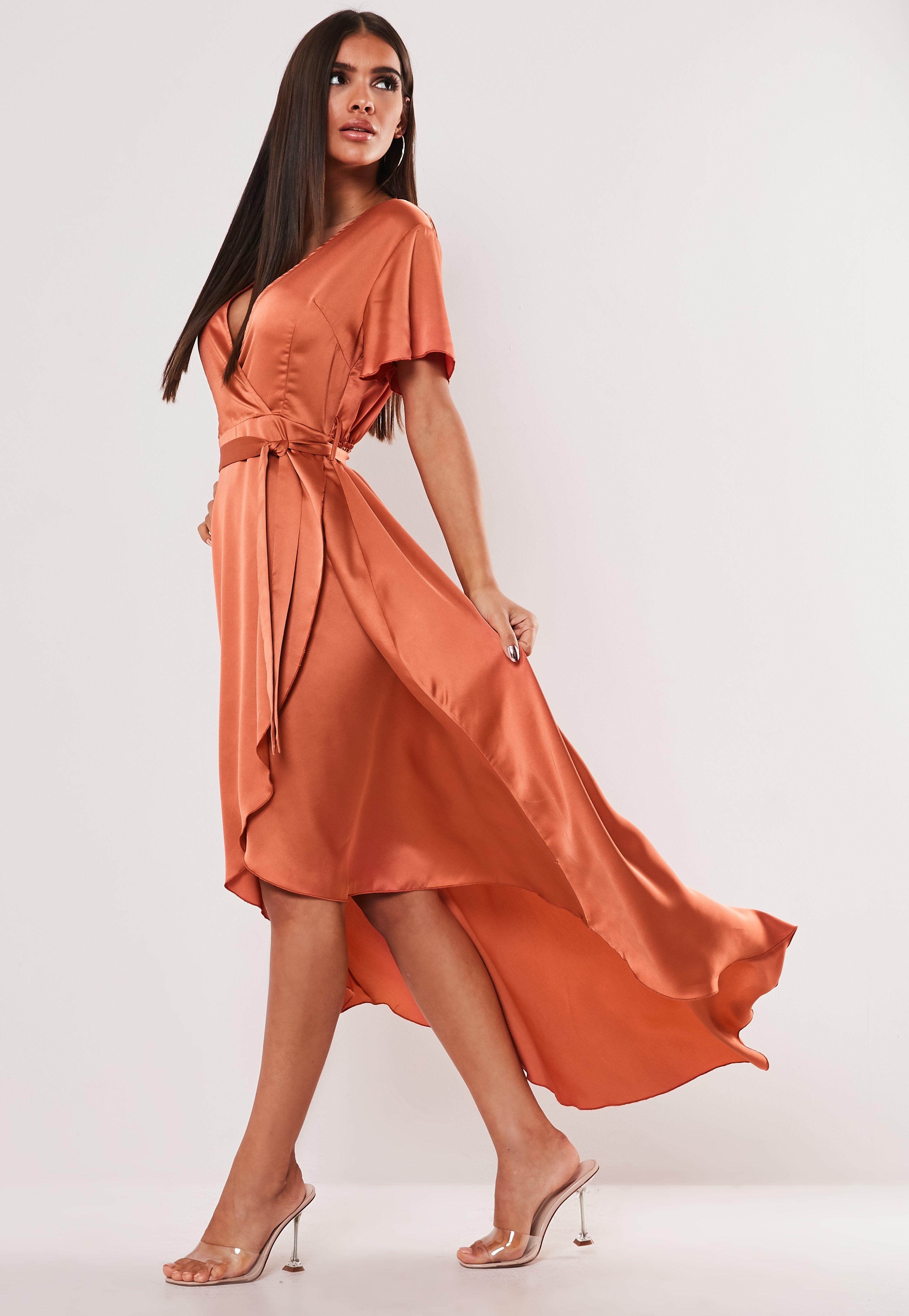 02c548f042d01 Rust Satin Wrap Front Ruffle Midi Dress