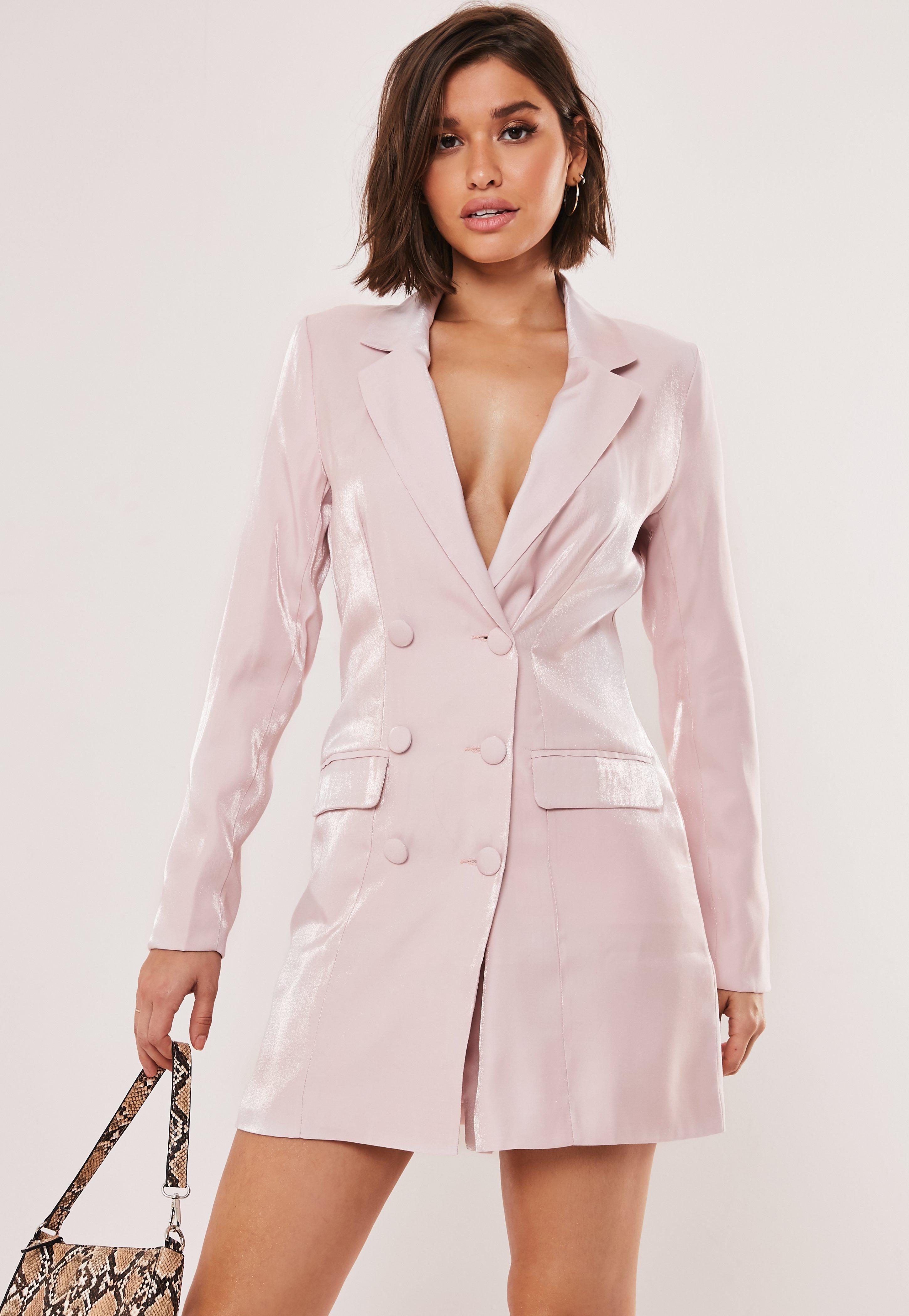 Vestido Blazer Brillante De Satén En Rosa