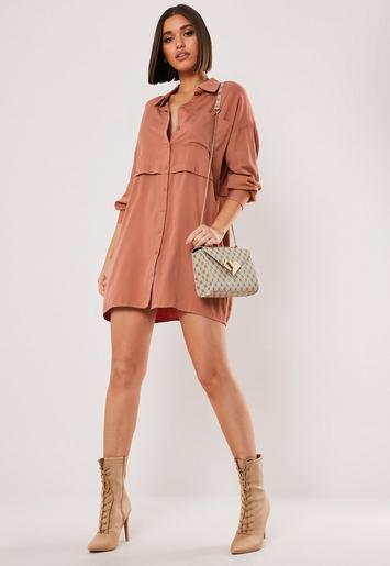 Terracotta Utility Shirt Dress by Missguided